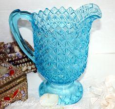 Antique EAPG Aqua Blue Glass Pitcher