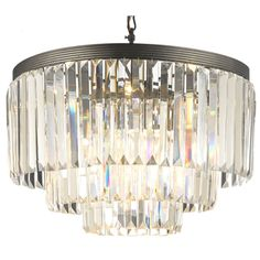 Odeon Crystal Glass Fringe 3-tier Chandelier   Overstock.com Shopping - Great Deals on Chandeliers & Pendants. $305.99 Dimensions: 21.5 inches high x 19.75 inches wide (excluding chain)