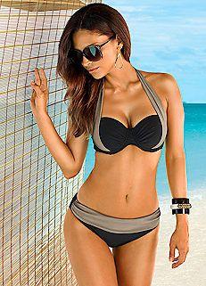 Black & Olive Halterneck Bikini