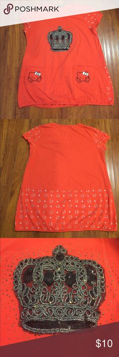 e4b7459eb Hello kitty beaded crown top Coral red tee with cap sleeves. Silver hello  kitty print