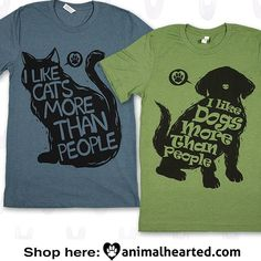 Animal Rights Vegan Shirts I Like Cats Dogs More Than People