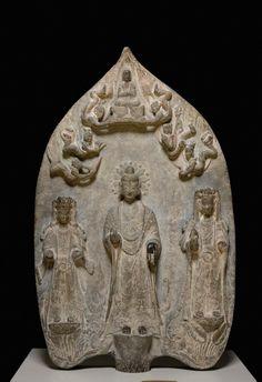 新南威爾士美術館-6世紀 中国 釋迦牟尼佛及觀音菩薩和大勢至菩薩