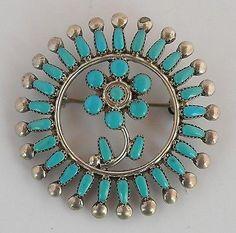VTG-Zuni-Native-American-sterling-pin-amp-pendant-petit-point-flower-Turquoise