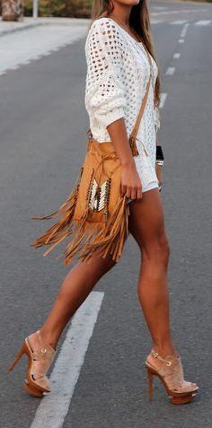 Boho fringe...but also love her legs!