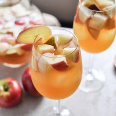 Apple Cider Sangria, 1 bottle pinot grigio, 2 1/2 C fresh apple cider, 1/2 C ginger brandy, 3 honey crisp apples chopped, 3 pears chopped.  combine all ingred and stir stir stir. refrige 2 hrs then serve.