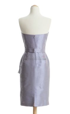 #bridesmaid Strapless Taffeta Short Silver Bridesmaid Dress BDS-CA168