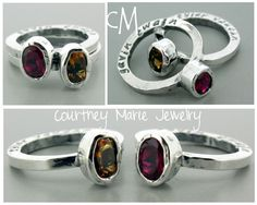 Super sweet sterling silver personalized stacker rings with bezel set birthstones!