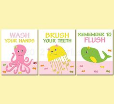 Girls Bathroom Art Print Set, 5x7, bathroom decor for girls, girls bathroom, octopus, jellyfish, whale, wash, brush, flush