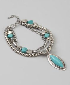This Silver & Turquoise Bead & Chain Bracelet is perfect! #zulilyfinds