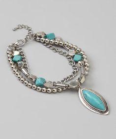 Look at this #zulilyfind! Silver & Turquoise Bead & Chain Bracelet #zulilyfinds