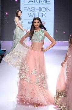Anushree Reddy - summer resort 2015 at LFW Lehenga Saree, Bridal Lehenga, Pink Lehenga, Sabyasachi, Anarkali Suits, Indian Designer Outfits, Designer Dresses, Designer Wear, Indian Dresses