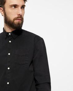 Kronstadt Johan langærmet skjorte - regular fit - Sort