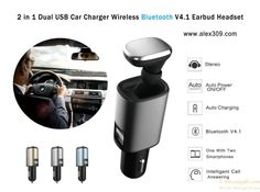 2 in 1 Dual USB Car Charger Wireless Bluetooth V4.1 Earbud Headset gift