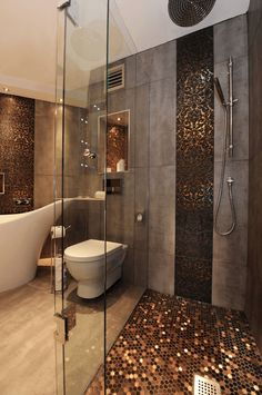 Copper Shower Stall - Copper details in the shower pair nicely with neutrals elsewhere