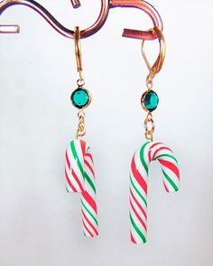 CANDY CANE EARRINGS, candy cane jewelry, candy canes, Christmas earrings, Christmas jewelry,polymer clay canes, green or red crystal - 1721C by EarringsBraceletsEtc on Etsy