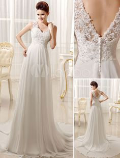 Vestido de noiva em chiffon e renda marfim com decote V nas costas