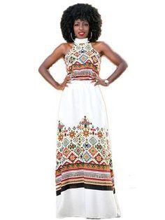 Turtleneck African Dashiki Maxi Dress