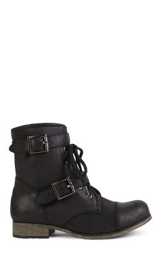 Deb Shops Short Two Buckle Flat Engineer Boot with Laced Front $15.00
