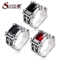 Steel soldier mix color Wholesale Jewelry Lots Vintage Friar Men's double cross Ring With Stone Red/Blue/Black Fashion BR8-061