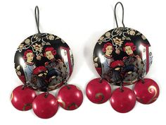 Chinese Earrings, Recycled Tin, Gypsy Style, Red and Black Chandelier Earrings by TinMoonJewelryworks on Etsy.  $40.