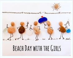 Girls have fun Pebble & sea glass art pictures
