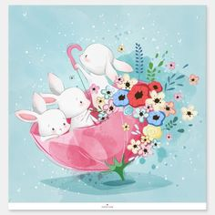 Shop Cute Spring Bunnies Sticker created by Deniseandcrafts. Illustration Inspiration, Cute Illustration, Foto Software, Illustration Mignonne, Art Mignon, Watercolor Stickers, Cute Easter Bunny, Watercolor Animals, Flower Watercolor