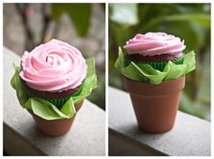 Cupcake flower pot - so cute for a party or for friend, neighbor, teacher gift