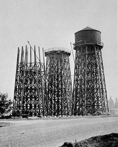 Three sets of water towers for a total of 12 tanks were built to serve McLoughlin Heights. The tanks were made of wood staves held together with steel bands and had a total capacity of 1 1/2 million gallons: