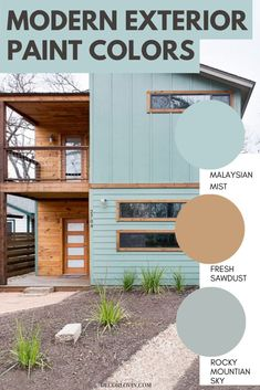 Choose from these modern exterior paint color schemes for your home's trim, siding, front door and more! Best Exterior Paint, House Paint Exterior, Exterior Paint Colors, Modern Exterior, Exterior Paint Color Combinations, Modern Color Schemes, Paint Color Schemes, House Painting, Modern Architecture