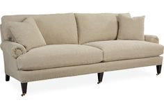 Lee 3643-32 Two Cushion Sofa  Overall: W91 D39 H35  Inside: W76 D23 H16  Seat Height: 18 Arm Height: 23 Back Rail Height: 31 Fabric / Leather: Kitts Flax 2 Standard Throw Pillows 18 x 18  Standard with Tack Trim