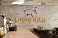 Beautiful branding work by Portland-based design studio Band for Lowbraw, a beer hall and sausage joint in Sacramento, California. via The Design Ark Logo Restaurant, Restaurant Design, Brick Restaurant, Rustic Restaurant, Typography Design, Branding Design, Logo Design, Graphic Design, Grid Design