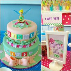 tinkerbell themed party sweet treats table #cake #dessert