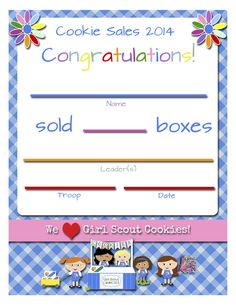 Girl Scouts: FREE Printable Cookie Certificates