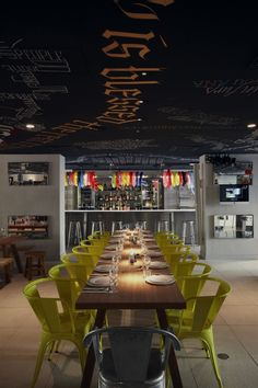 Check out the chalkboard ceiling: Mama Shelter by Philippe Starck