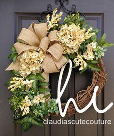 Cream Hydrangea Wreath,Fall Wreath,Farmhouse Wreath,Year Round Wreath,Front Door Wreath,Grapevine Wreath,Elegant Wreath,Wreath for Door by ClaudiasCuteCouture on Etsy https://www.etsy.com/listing/170029778/cream-hydrangea-wreathfall
