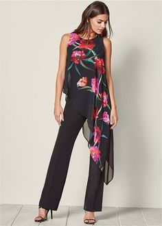 Order a sexy Chiffon Overlay Jumpsuit by VENUS online or Elegante Jumpsuits, Look Fashion, Womens Fashion, Fashion Trends, Fashion 2018, Fashion Spring, Yoga Mode, Printed Jumpsuit, Fashion Clothes
