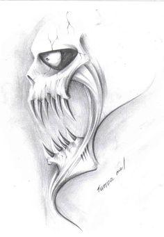 Creepy Drawings, Dark Art Drawings, Pencil Art Drawings, Art Drawings Sketches, Tattoo Drawings, Sketch Tattoo Design, Skull Tattoo Design, Skull Design, Evil Skull Tattoo
