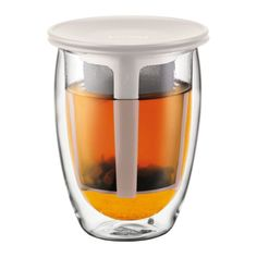 TEA FOR ONE | Glass, double wall, 0.35 l, 12 oz and tea strainer Off white | Bodum Online Shop | United States