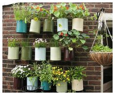 GREAT look for old cans: paint, fill w/flowers and HANG! <3 it!