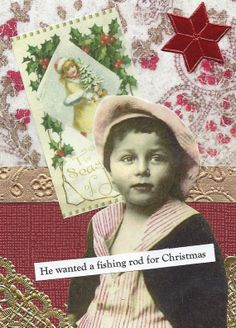 Christmas Collage Card  Time to Go Fishing by rhodyart on Etsy, $2.25