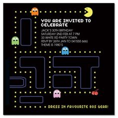 Pacman Party Invitations Google Search Party Ideas Pinterest