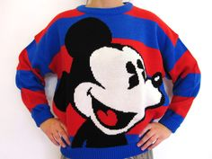 Vintage Mickey Mouse Knit Striped Sweater