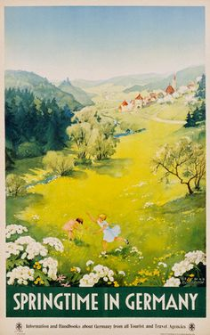 Springtime in Germany by Dettmar Nettelhorst. I LOVE vintage travel posters!