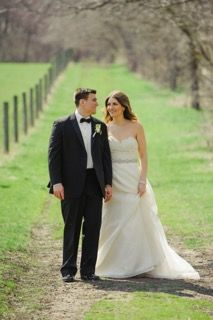 (Photo courtesy of Katherine Murray Photography) #bride #groom #outdoor pics #slimfit #modernfit #blacktuxedos #springwedding