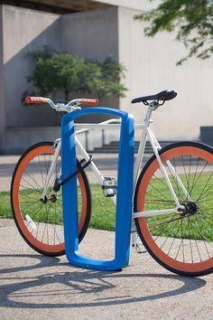 Twist Bike Racks shown with Azure and Aluminum Texture powdercoat