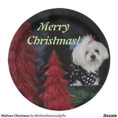 Maltese Christmas Paper Plate