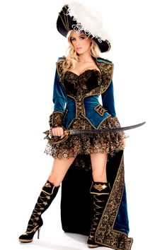 Long velvet pirate coat costume idea, sexy pirate women's. full costume blue, black, gold shirt skirt.
