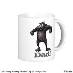 Funny Monkey Father's Day Classic White Coffee Mug from White Coffee Mugs, Funny Coffee Mugs, Funny Mugs, Funny Fathers Day Gifts, Dad Gifts, Funny Dad, Dad Humor, Online Gifts, Classic White