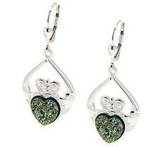 Sterling Silver Drusy claddagh earrings.