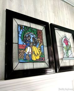 Beauty and the Beast Faux Stained Glass DIY {Reality Daydream} Die Schöne und das Biest Faux Glasmalerei DIY {Reality Daydream} Disney Stained Glass, Stained Glass Rose, Stained Glass Christmas, Fused Glass, Glass Beads, Disney Home Decor, Disney Diy, Disney Crafts, Beauty And The Beast Bedroom